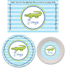 Alligator Boy Personalized 3-Piece Melamine Plate, Bowl and Placemat Set