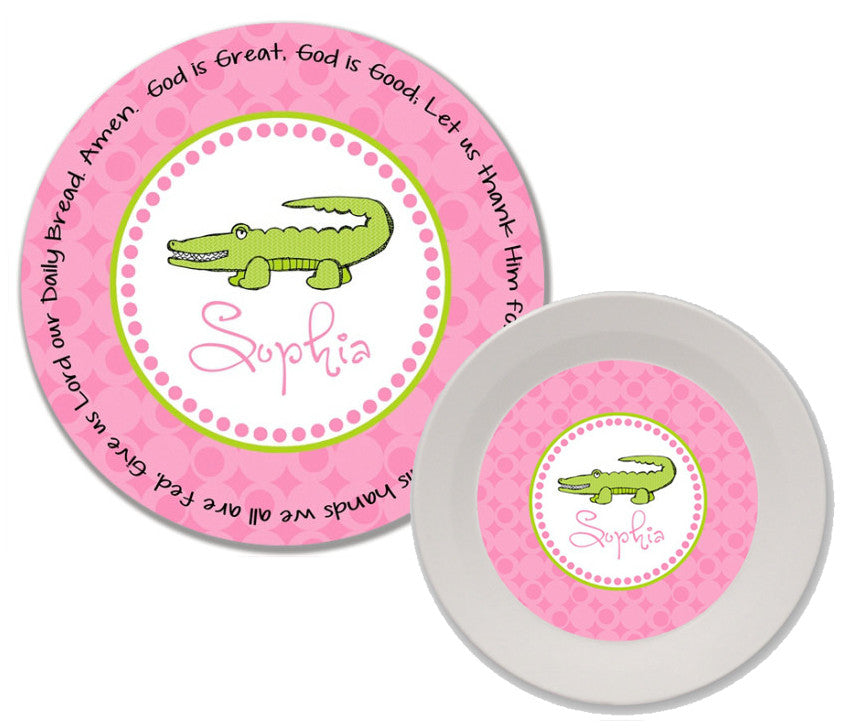 Alligator Girl Personalized 2-Piece Kids' Melamine Plate and Bowl Set