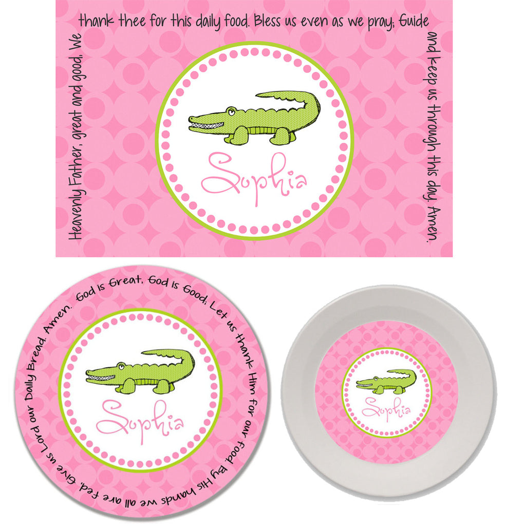 Alligator Girl Personalized Kids' Melamine Plate, Bowl and Placemat Set