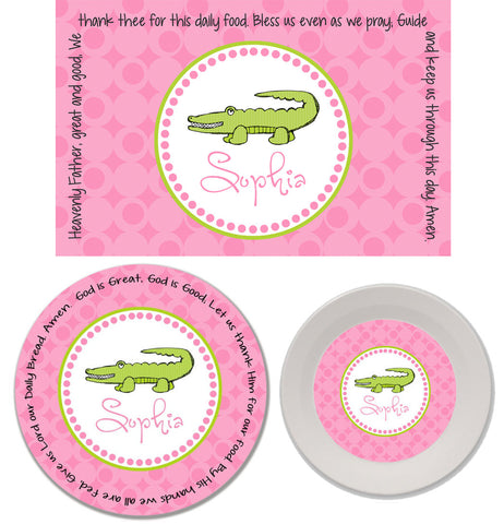 Alligator Girl Personalized Mealtime Set | 3-Piece
