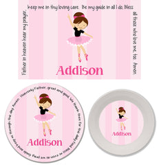 Ballerina Personalized Kids' Melamine Plate, Bowl and Placemat Set