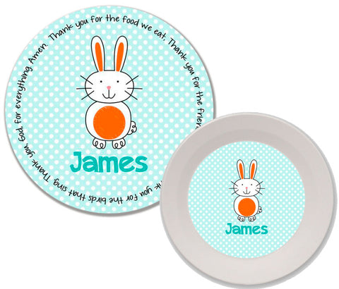 Easter Bunny Boy Personalized Mealtime Set | 2-Piece