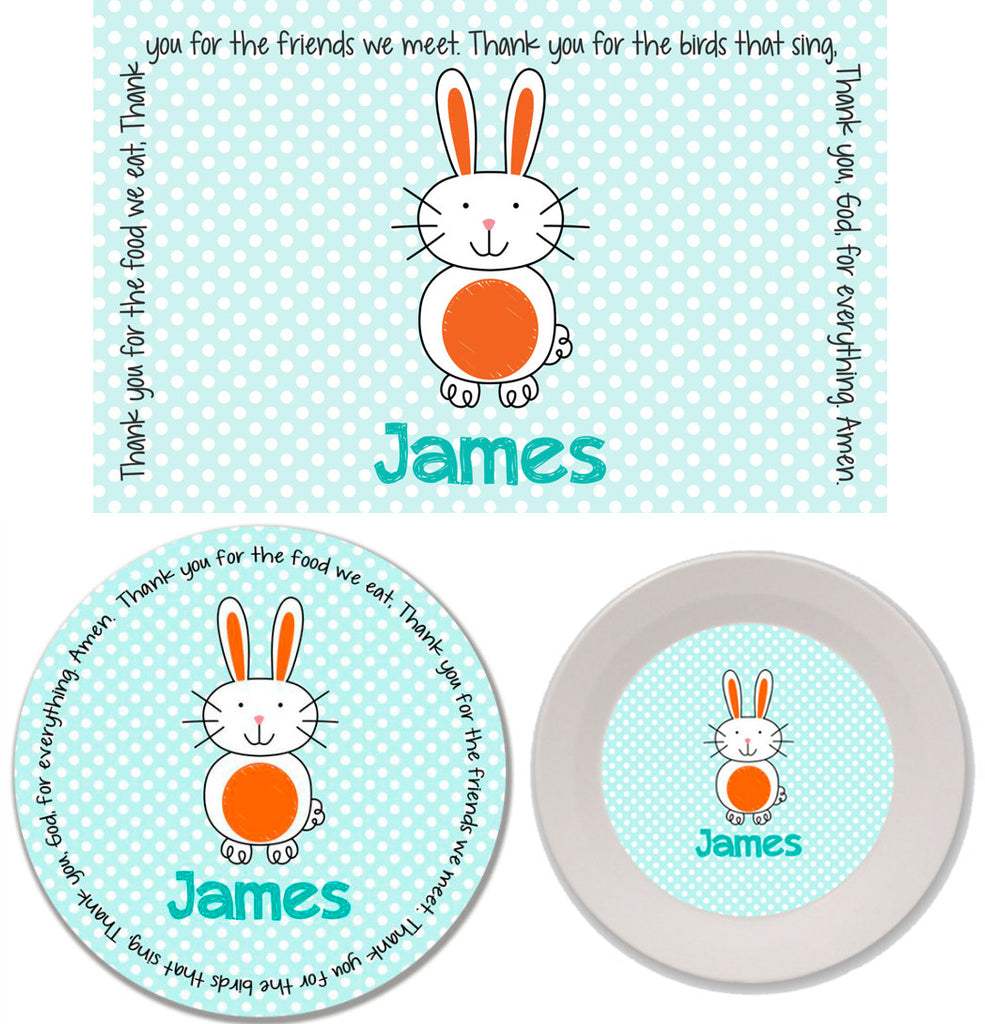Easter Bunny Boy Personalized Mealtime Set | 3-Piece