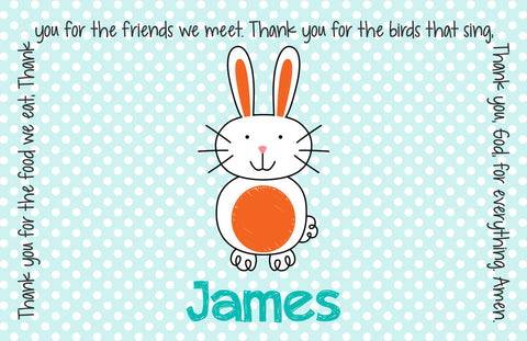Easter Bunny Boy Personalized Kids Placemat