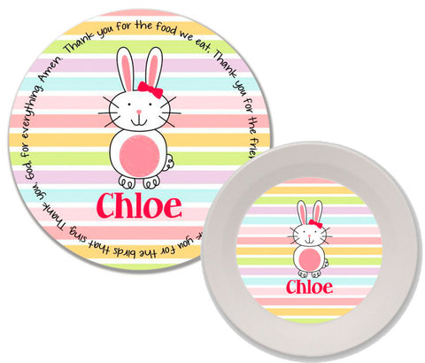 Easter Bunny Girl Personalized Mealtime Set | 2-Piece