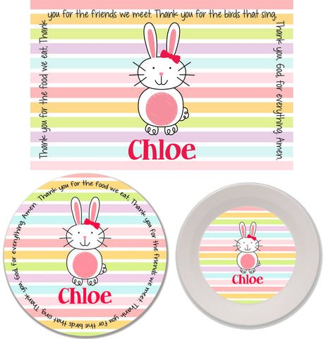 Easter Bunny Girl Personalized Mealtime Set | 3-Piece