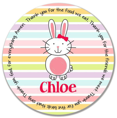 Easter Bunny Girl Personalized Kids Melamine Plate