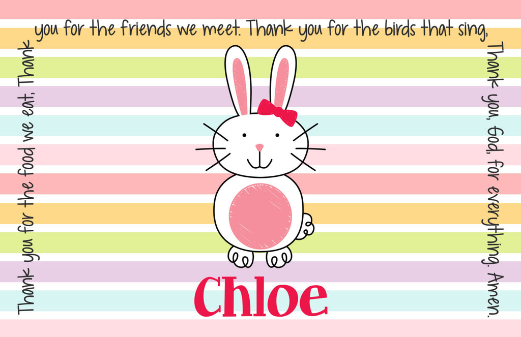 Easter Bunny Girl Personalized Kids Placemat