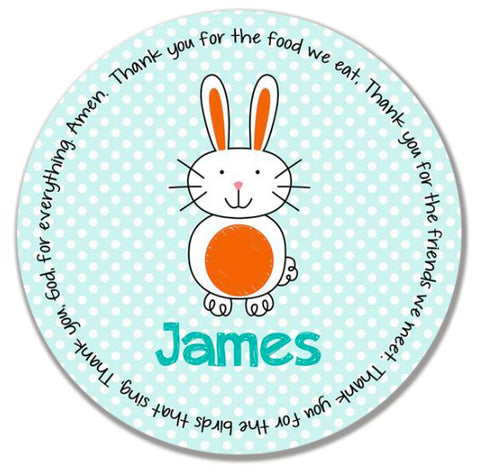 Easter Bunny Boy Personalized Kids Melamine Plate