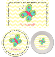 Butterfly Personalized Mealtime Set | 3-Piece