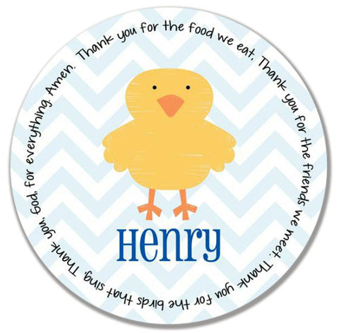 Easter Chick Boy Personalized Kids Melamine Plate