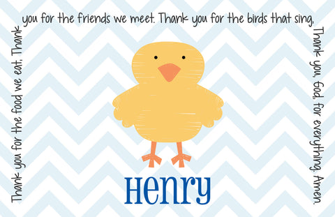 Easter Chick Boy Personalized Kids Placemat