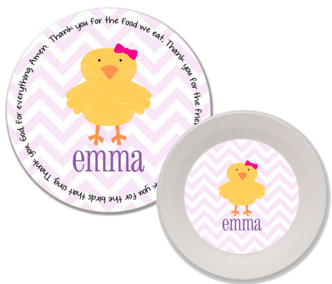 Easter Chick Girl Personalized Mealtime Set | 2-Piece