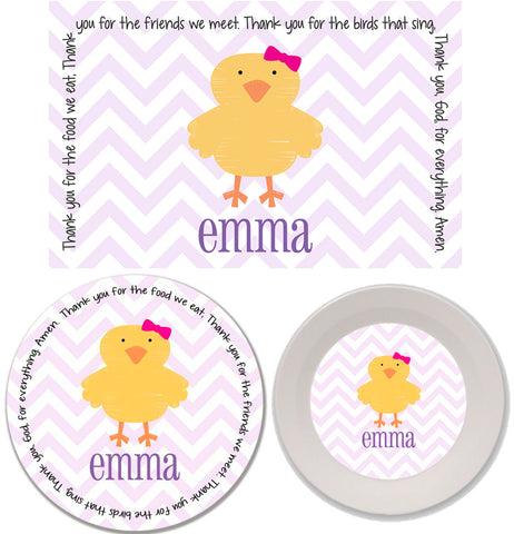 Easter Chick Girl Personalized Mealtime Set | 3-Piece