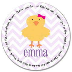 Easter Chick Girl Personalized Kids Melamine Plate
