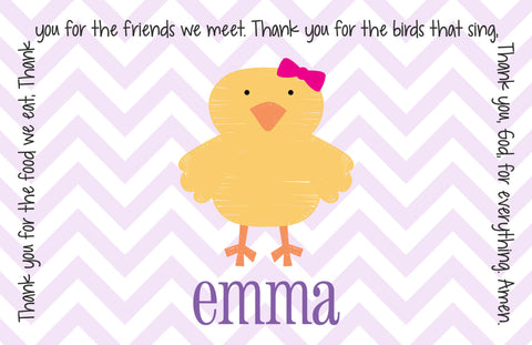 Easter Chick Girl Personalized Kids Placemat