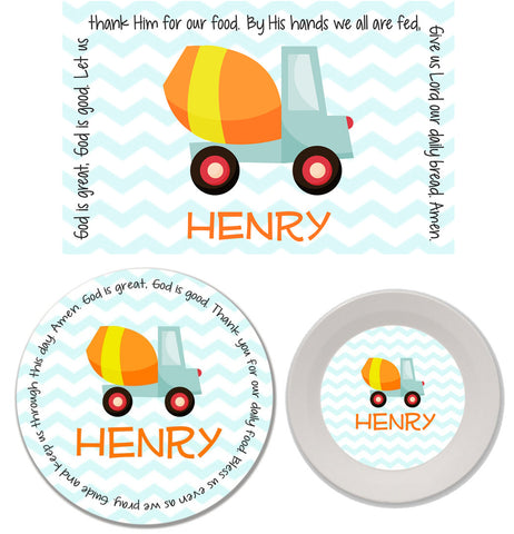 Construction Personalized Mealtime Set | 3-Piece
