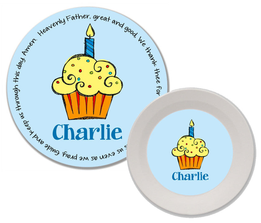 Cupcake Boy Personalized Mealtime Set | 2-Piece