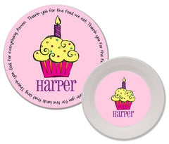 Cupcake Girl Personalized Mealtime Set | 2-Piece