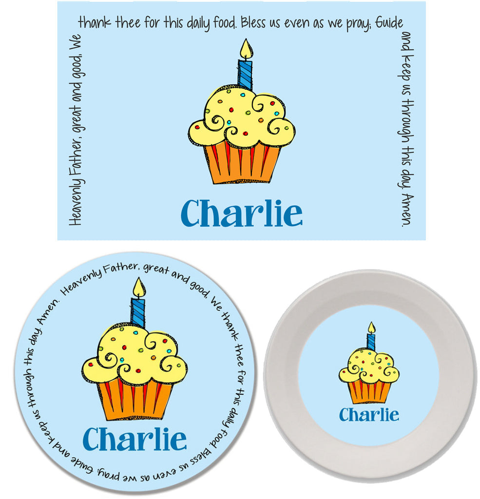 Cupcake Boy Personalized Mealtime Set | 3-Piece