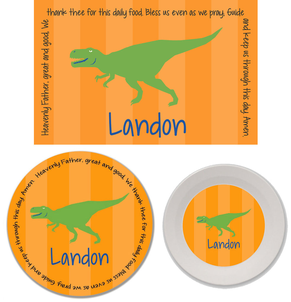T-Rex Dinosaur Boy Personalized Mealtime Set | 3-Piece