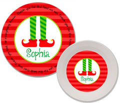 Christmas Elf Feet Personalized Mealtime Set | 2-Piece