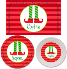 Christmas Elf Feet Personalized Mealtime Set | 3-Piece