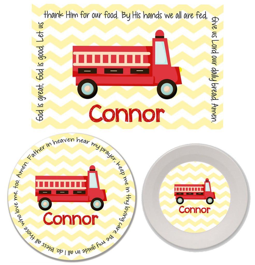 Fire Truck Personalized Mealtime Set | 3-Piece