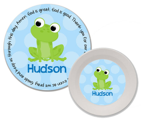 Frog Boy Personalized Mealtime Set | 2-Piece