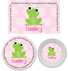 Frog Girl Personalized Mealtime Set | 3-Piece