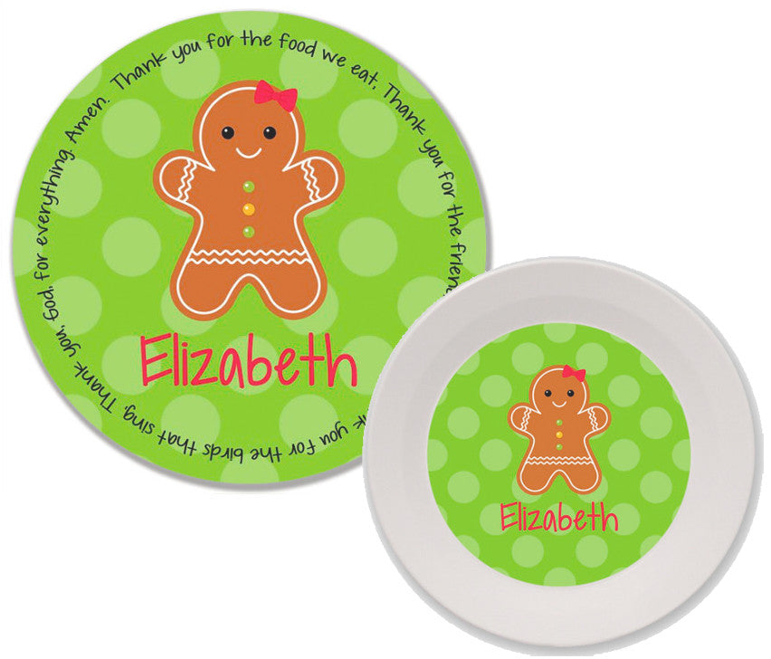 Christmas Gingerbread Personalized Mealtime Set | 2-Piece