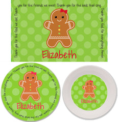 Christmas Gingerbread Personalized Mealtime Set | 3-Piece