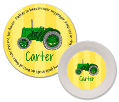 Tractor Green Personalized Mealtime Set | 2-Piece