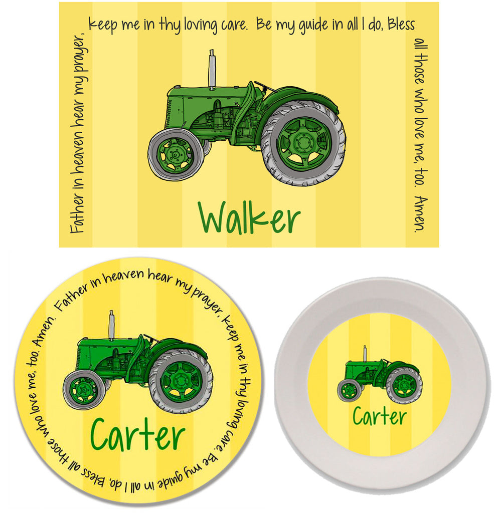 Tractor Green Personalized Mealtime Set | 3-Piece