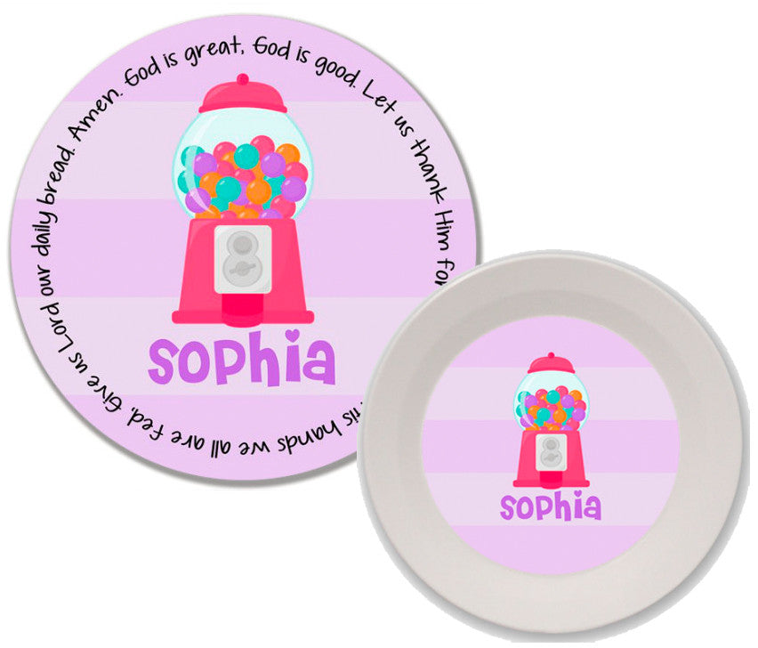Gumball Girl Personalized Mealtime Set | 2-Piece