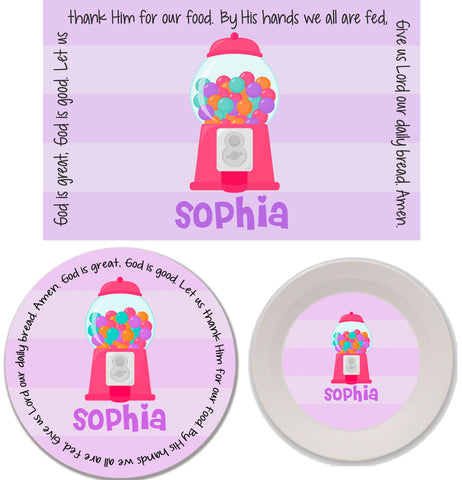 Gumball Girl Personalized Mealtime Set | 3-Piece