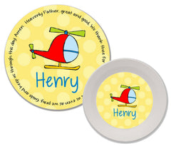 Helicopter Personalized Mealtime Set | 2-Piece