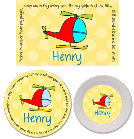Helicopter Personalized Mealtime Set | 3-Piece