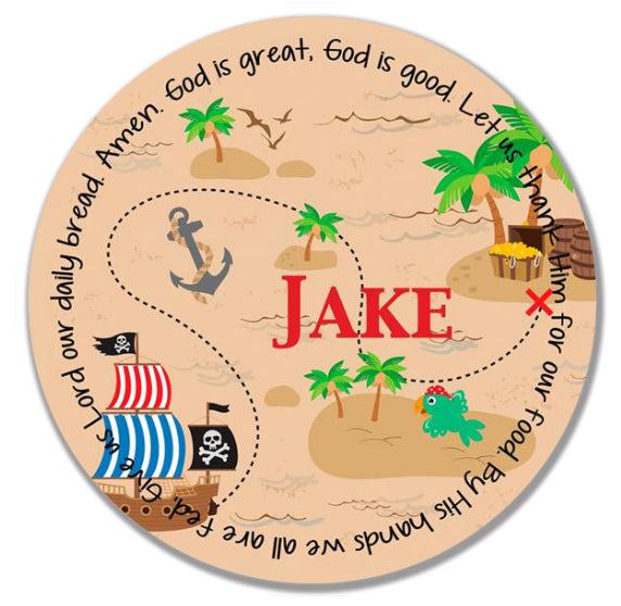 Pirate Personalized Kids Melamine Plate