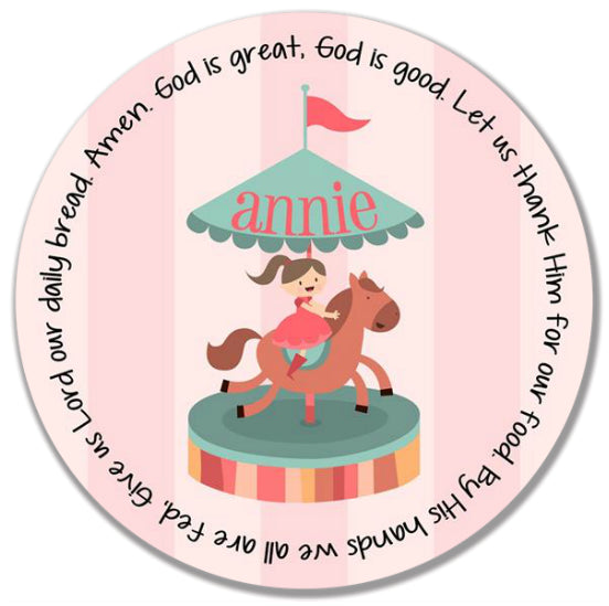 Horse Carousel Personalized Kids Melamine Plate