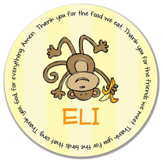 Monkey Boy Personalized Kids Melamine Plate