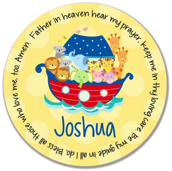Noah's Ark Primary Personalized Kids Melamine Plate