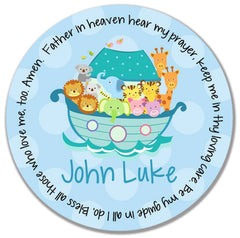 Noah's Ark Blue Personalized Kids Melamine Plate