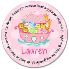 Noah's Ark Pink Personalized Kids Melamine Plate