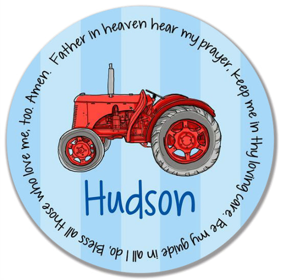 Tractor Red Personalized Kids Melamine Plate