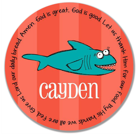 Shark Personalized Kids Melamine Plate