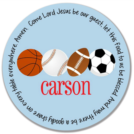 Sports Team Colors Personalized Kids Melamine Plate