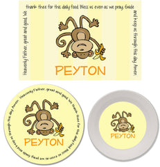 Monkey Boy Personalized Mealtime Set | 3-Piece