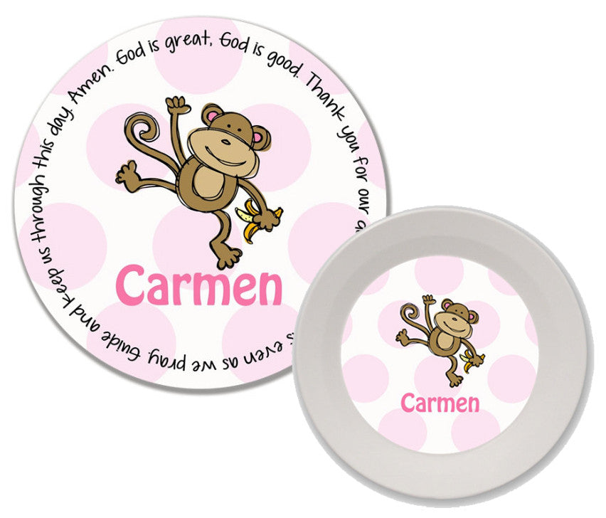 Monkey Girl Personalized Mealtime Set | 2-Piece