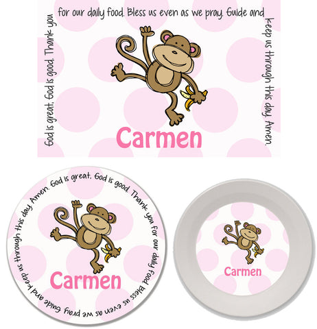 Monkey Girl Personalized Mealtime Set | 3-Piece